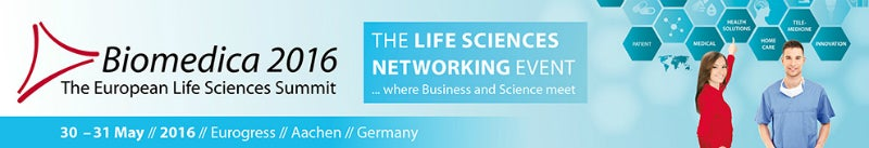 A banner for the Biomedica Summit in Aachen, Germany.
