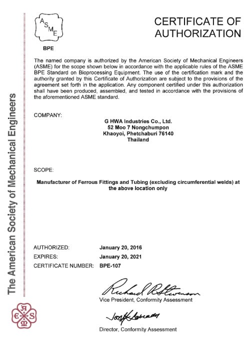 ASME-BPE Certificate of Authorisation