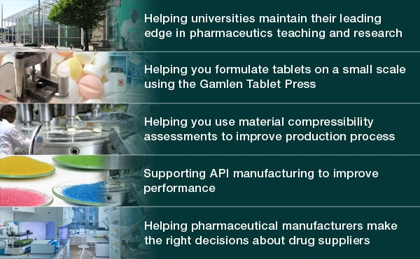 Gamlen Tableting designs pharmaceutical instruments to create high-quality tablets.