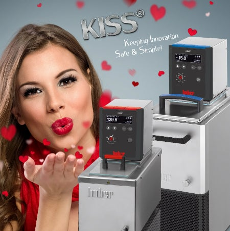 Lady blowing a kiss beside Uber's KISS Lab Circulator