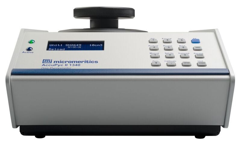 AccuPyc II 1340's gas displacement pycnometry system delivers a fast and fully automatic pycnometer.