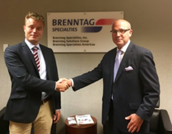 Brenntag Specialties and Nirdisk Pharmatech sign an agreement.