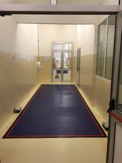 Dycem CleanZone flooring set up in a corridoor.