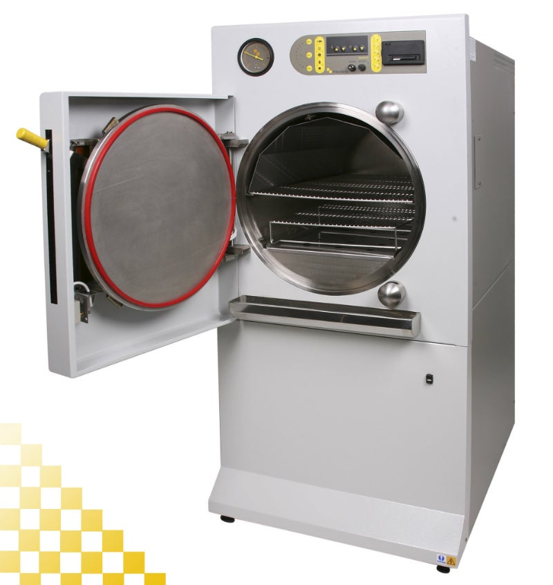 The QCS 100l laboratory autoclave features a 500mm diameter chamber.